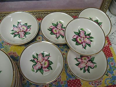Set of 6 Paden City Pottery MODERN ORCHID Small Desert Dishes 22K Gold