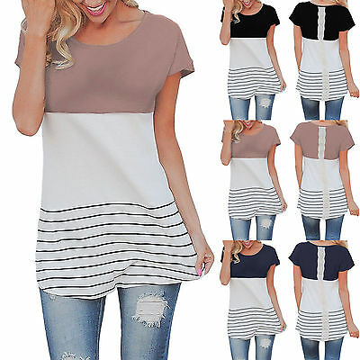Casual Women's Short Sleeve Striped Back Lace T-Shirt Ladies Summer Tops Blouse
