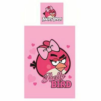 Angry Birds Pink Pretty Bird Single Duvet Cover Set Girls Kids Reversible