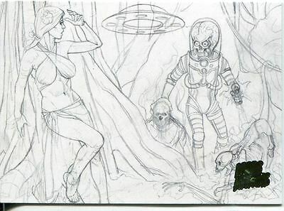 Mars Attacks Invasion Pencil Concept Art Parallel Base Card #13