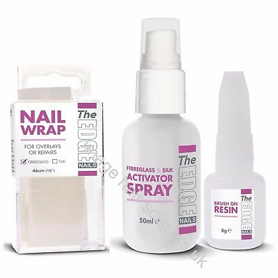 The Edge FIBREGLASS WRAP TRIAL KIT False Nails Starter Beginner Kit Tips Wraps
