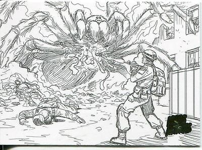 Mars Attacks Invasion Pencil Concept Art Parallel Base Card #41