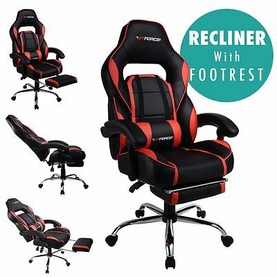 Gtforce Pace Red Reclining Leather Sports Racing Office Desk Chair Gaming