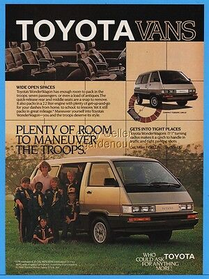 1986 Toyota Wonder Wagon Mini Van Boy Scouts In Uniform Photo Print Ad