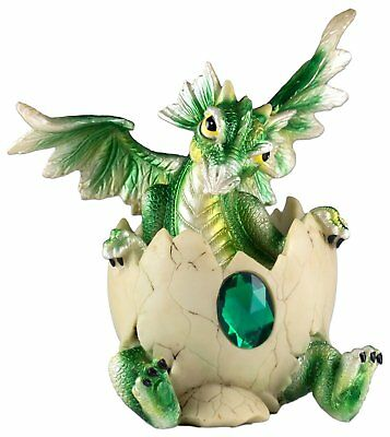 """Green Baby Dragon Hatching From Egg Figurine Hatchling 5"""" Detailed Resin NIB"""