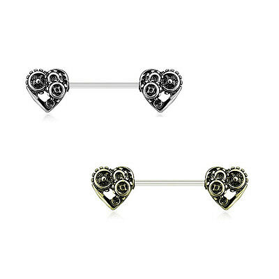Pair of Nipple Rings 14G Heart Steampunk Design Surgical Steel Antique Colors