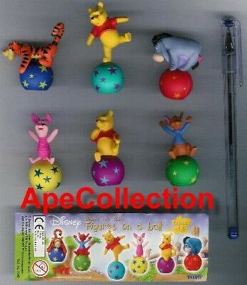 TOMY SET 6 Figure WINNIE POOH FIGURE ON A BALL Rare FIGURES Danglers Originali