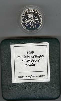 1989 Boxed Piedfort Silver Proof £2 Claim Of Right With Certificate