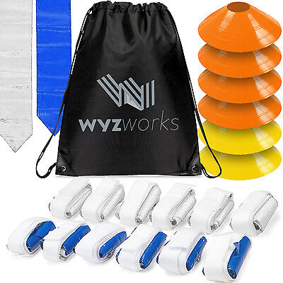 WYZworks Blue & White Flags 12 Player Flag Football Set w/ Cones & Travel Bag