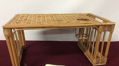 Bamboo Wicker Tray Cup Newspaper Holder Breakfast in Bed Rattan Serving Tray