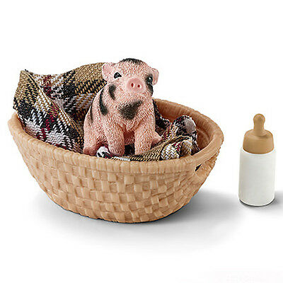 Schleich 42294 Miniature Pig with Bottle Blanket and Basket Model Toy - NIP