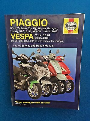 Haynes Piaggio & Vespa Scooter Manual 1991 - 2009 Good Condition