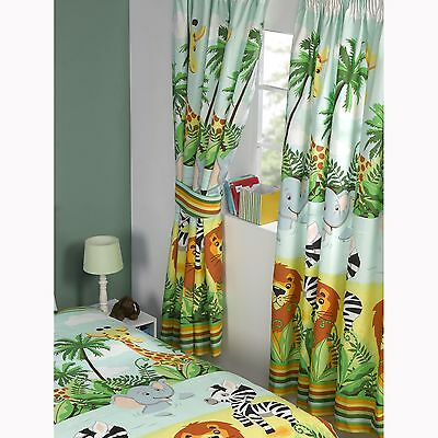 "JUNGLE-TASTIC 66"" x 72"" FULLY LINED CURTAINS WITH TIE-BACKS LION ELEPHANT"