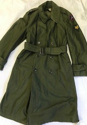 US ARMY VIETNAM WAR OVERCOAT TRENCH COAT Vintage GREEN COTTON SATEEN 3RD ARMY