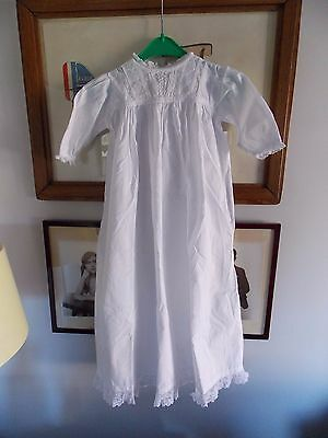 "Antique Vintage Christening Gown Lace Sleeve Neck and Hem. Lovely! 30"" Length."