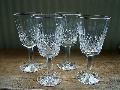 """4 Signed Waterford Lismore Cut Crystal 5.5"""" Wine Glasses"""