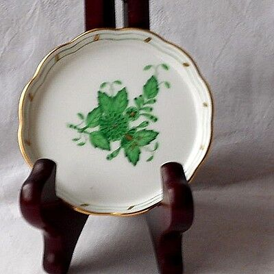 Small Herend Pin Dish Decorated With Green Flowers