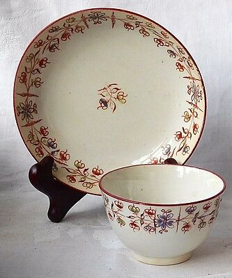 Early C19Th Creamware Hand Painted Tea Bowl And Saucer