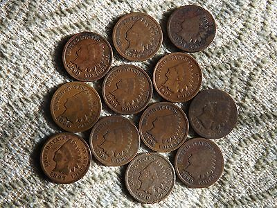 12 X  USA ONE CENT INDIAN HEAD COINS 1888 -- 1908 All different dates.
