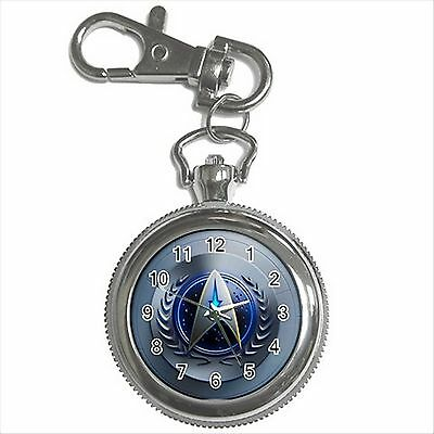 STAR TREK BADGE Silver Color Tone Key Chain Ring Watch Gift NEW D02