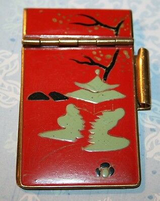 Antique Solid Brass/Enamel Gents Notebook Pocket Fob Chatelaine Japanese/Chinese
