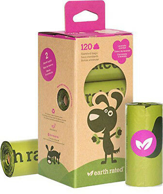 EARTH RATED - Dog Poop Bags Refill Pack Lavender-Scented 8 Rolls - 120 Bags