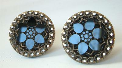 Antique Czech Glass Button Earrings Black Silver Snowflakes Flower Molded Cut