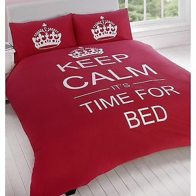 Keep Calm & Carry On It's Time For Bed Red Single Duvet Cover Set (FREE P+P)
