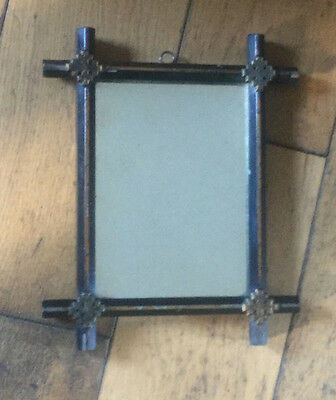 Antique Victorian Black & Gold Chinoiserie Hanging Mirror