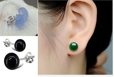 8mm Natural Jade Round Gemstone Sterling Silver 925 Stud Earrings Gift Box A12