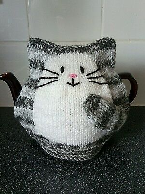 Hand knitted New grey stripe cat tea cosy for large 2 pint teapot