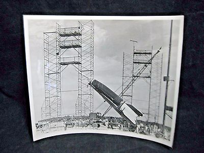 US Air Force Ballistic  Missile Being Erected 10x8 Photo November 1960