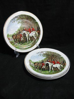 Fox Hunting Scene Plates Royal Crownford Staffordshire Wood & Sons Set of 4