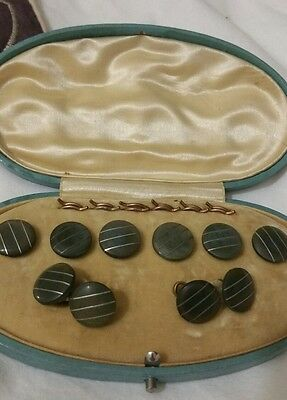 Art Deco Silver Inlaid Buttons And Cufflink Set Boxed