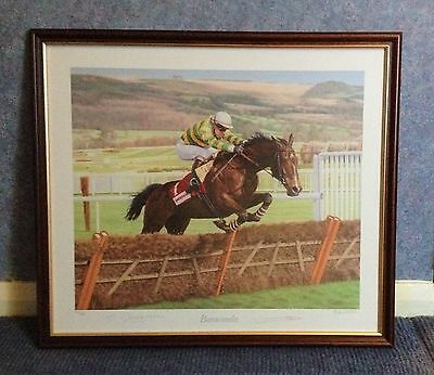 Horse Racing Large Signed Framed Print - 'Baracouda' by Stephen Smith - Ex. Con!