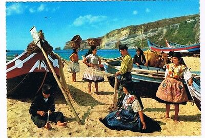 Portugal Postcard Nazare Typical Costumes Boats Nets