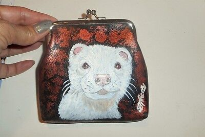 White Albino Ferret Hand Painted Leather Coin Purse Vegan Mini wallet