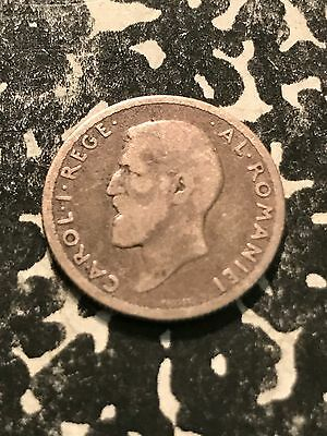 1910 Romania 50 Bani Lot#4362 Silver!