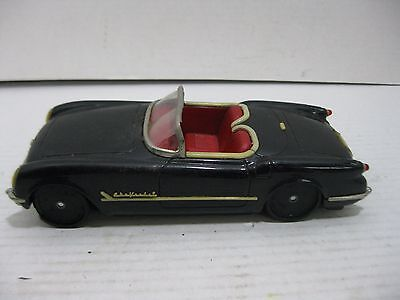 Vintage 1950's Tin Lithographed Friction Drive Black Convertible Car Japan Made