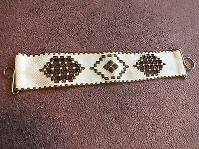 Collectible Norwegian Hardangar Embroidery Needlepoint Bell Pull Off White Brown