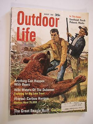 1968 Outdoor Life Hunting Fishing Magazine August 1968 Grizzly Bear Attack Cover