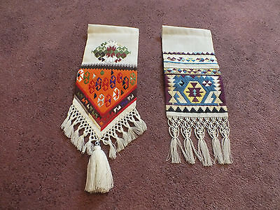 Collectible Embroidery Needlepoint Wall Hanger Set 2 Aztec Style Design NICE