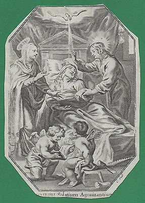 DEATH OF ST JOSEPH Antique 17th Cent. HOLY CARD ENGRAVING ON VELLUM