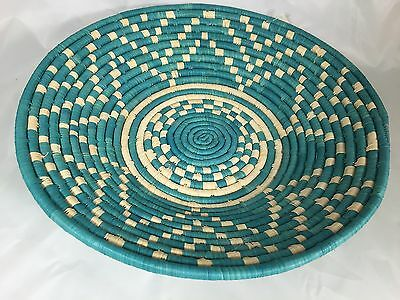 Bamboula African Uganda Raffia 15-Inch Bowlturquoise And Natural  New