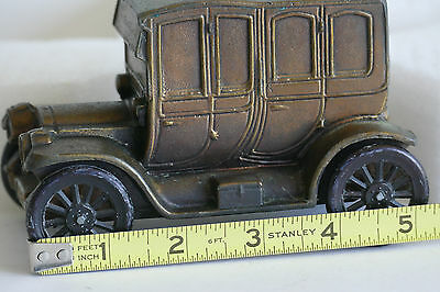 VINTAGE FORD CAR METAL DIE CAST COIN BANK ROLLING WHEELS Coach Style 1912