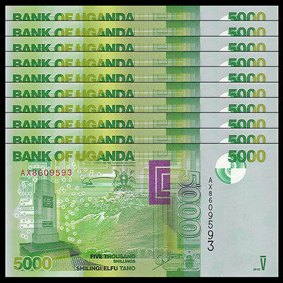 Lot 10 PCS, Uganda 5000 (5,000) Shillings, 2015, P-51 NEW, UNC
