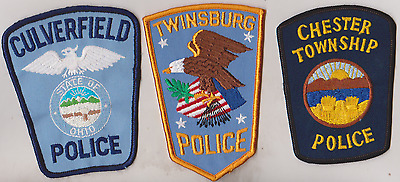 Culverfield, Chester Township & twinsburg Police OH patches