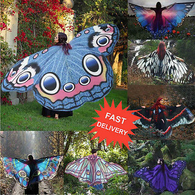 US Women Long Butterfly Wing Cape Soft Scarf Scarves Wrap Shawl Nymph Costume