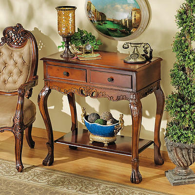 English Hand Carved Solid Hardwood Antique Replica Console Table