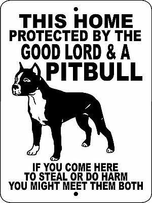 "PIT BULL Guard Dog Sign,9""x12"" Aluminum Sign, Dogs, Vinyl Decal ,GLPB1CY"